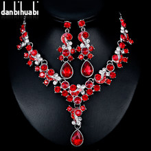 danbihuabi 3 Color Wedding Jewelry Sets for Women Red Blue Transparent  Rhinestone Bridal Necklace Earring Sets adornment Jewelry f238f06f60ca