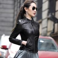 PTSLAN Genuine Leather Jacket Women Real Leather Coat Sheepskin Women's Short Motorcycle Biker Jacket Outerwear P3750