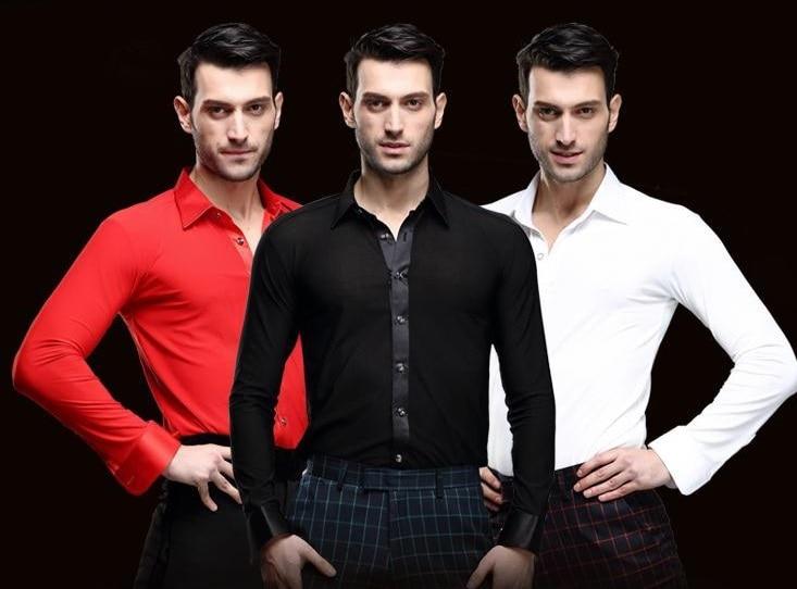 Black White Red Boy adult Latin tops practice clothes men long sleeve shirt Latin Dance shirts Ballroom Latin Stage Dance shirts
