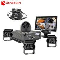 Asvegen 4 резервного копирования камеры ИК Ночное видение Водонепроницаемый с 7 монитор заднего вида для RV Грузовик Автобус парковка видео пом