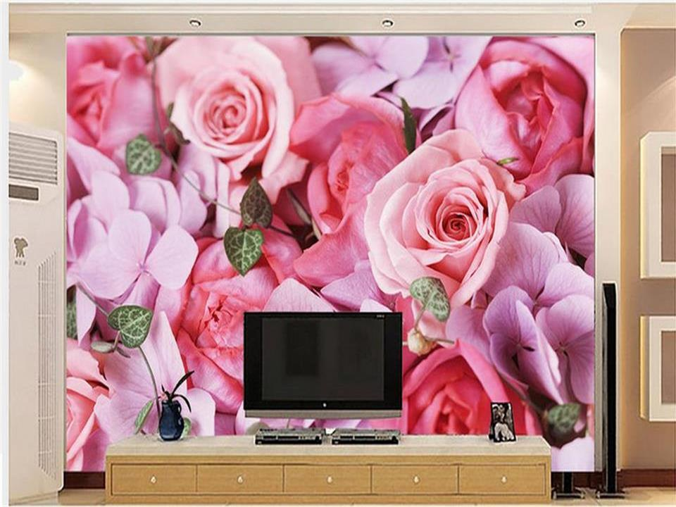 3d wallpaper photo wallpaper custom mural living room pink rose flowers 3d painting sofa TV background wall Non-Woven sticker custom 3d stereoscopic large mural wallpaper bedroom living room tv background fabric wall paper non woven wall painting rose