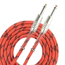 Instrument Guitar Cable 3m & 6m For Classical Guitar Bending Resistance Protection 6.35mm Plug with Red&Black Tweed Woven Jacket