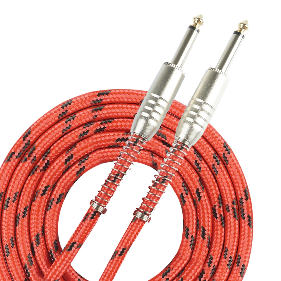 Instrument Guitar Cable Cord 3m & 6m For Classical Guitar Bending Protection 6.35mm Plug with Red&Black Tweed Woven Jacket music s 3 meters 10 feet electric guitar bass musical instrument cable cord 1 4 inch straight to right angle plug woven jacket