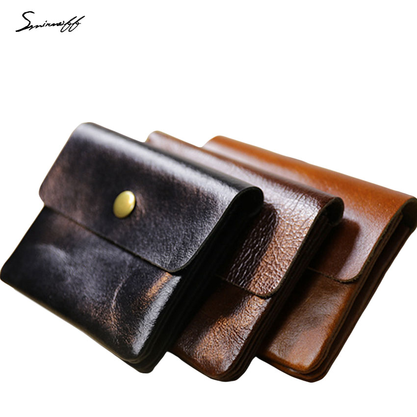SMIRNOFF 2017 New Hasp Short Purse Bag Paragraph Genuine Leather Wallet Credit Card Holder Retro Buckle Purse Coin Mini Wallet