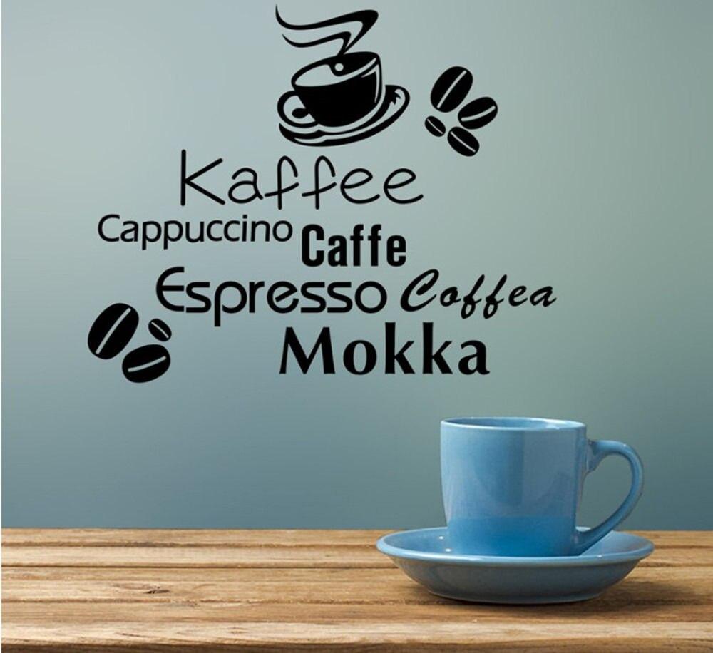 Coffee Kaffe Vinyl Wall Art Sticker Quote Wall Stickers Kitchen Wall ...