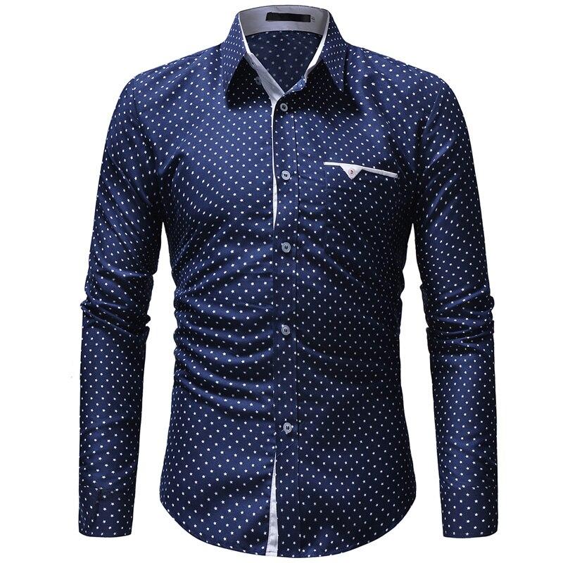 Brand Shirt Casual Men's Shirt Fashion Polka Dot Shirt Male Autumn Long Sleeve Social Dress Turn-down Collar Men Shirts