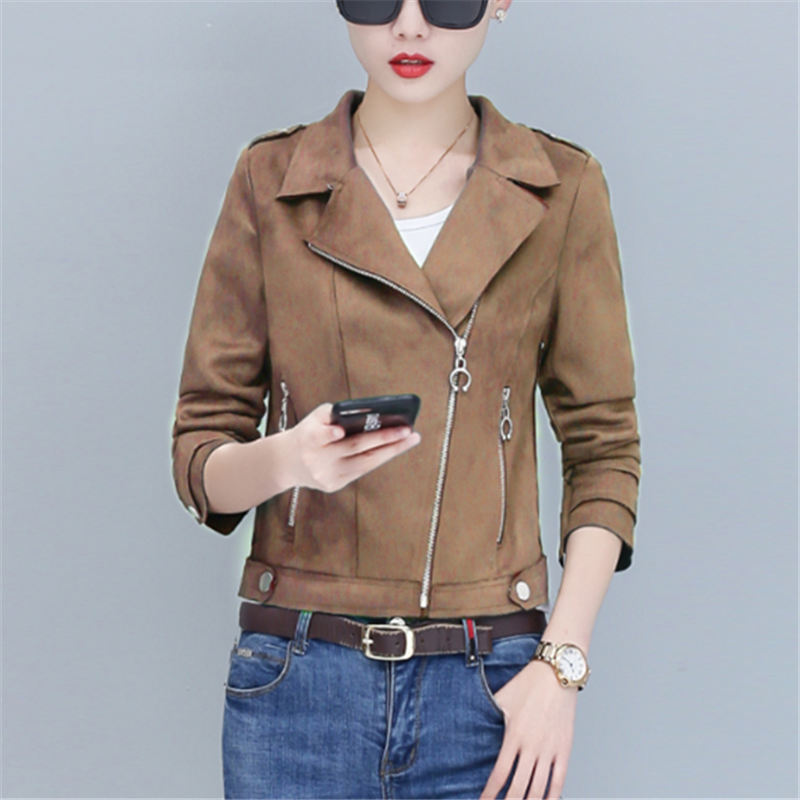 Women Autumn Winter   Suede   Faux   Leather   Jackets Lady New Fashion Motorcycle Coat Biker Green Pink Short Outwear
