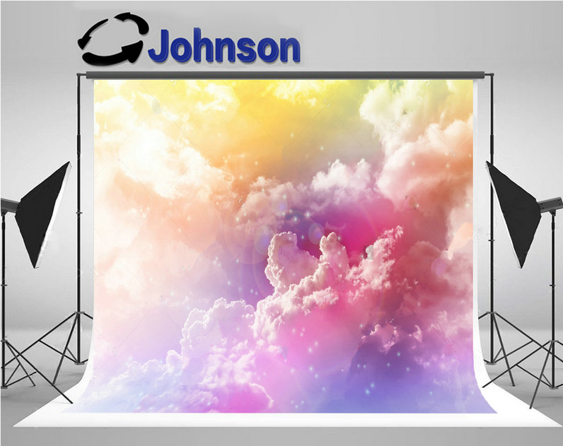 sky Colourful Dreamy Big Puffy Clouds Romantic Lense Flare Soft Mood backgrounds Vinyl cloth Computer print wall backdrop