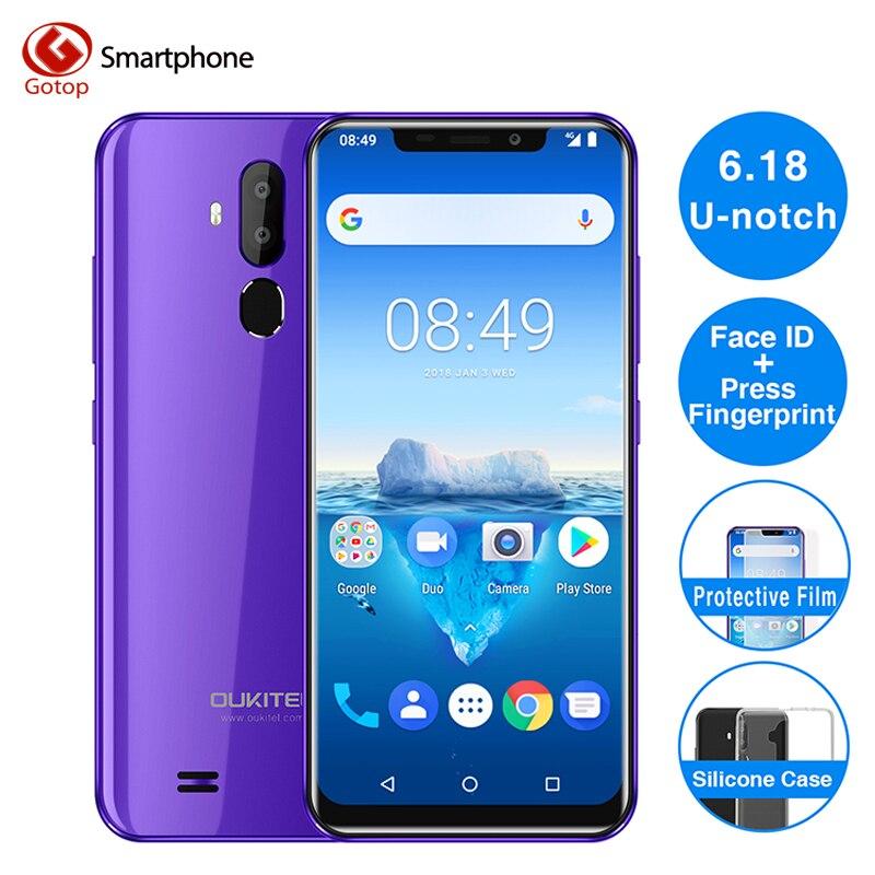 Oukitel C12 Pro Cara ID 6.18 Polegada 19:9 U-notch Exibição Android 8.1 GB de RAM 16 2GB ROM 8MP MT6739 3300mAh Da Bateria + 5MP 4G de Smartphones