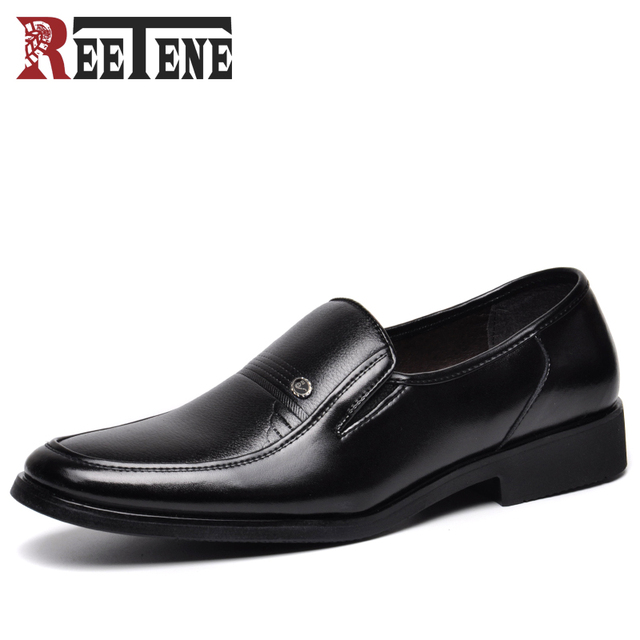 REETENE Fashion Slip-on Dress Men Shoes 2017 New Classic Black Men's Business Suits Shoes Fashion Flats Shoes Men
