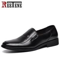 REETENE Fashion Slip on Dress Men Shoes 2017 New Classic Black Men's Business Suits Shoes Fashion Flats Shoes Men