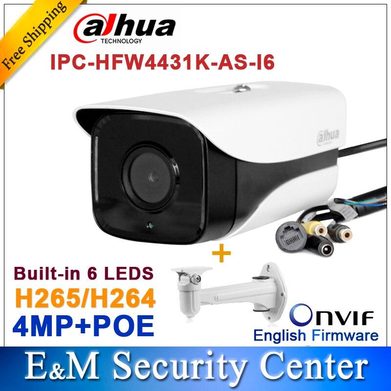 bilder für Original Dahua IPC-HFW4431K-AS-I6 4MP POE Sd-kartensteckplatz Audio/Alarm 1/1 kanal I/O IR stiftkamera HFW4431K-AS-I6