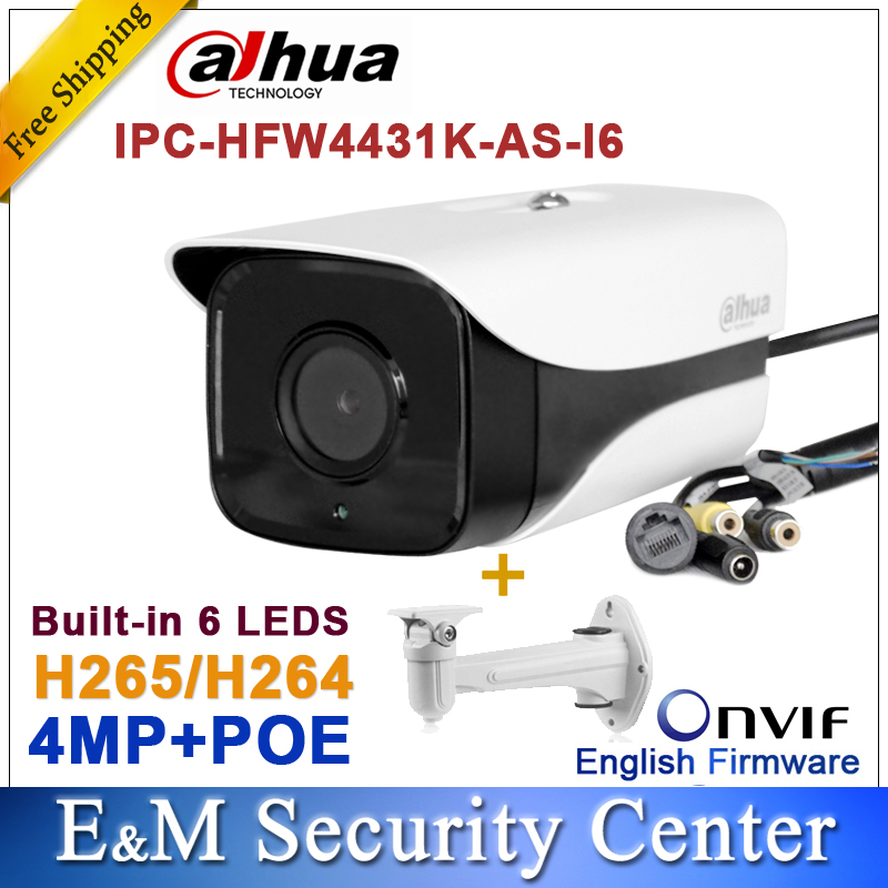 imágenes para Original Dahua IPC-HFW4431K-AS-I6 4MP POE ranura para Tarjeta SD Audio/Alarma 1/1 canales I/O IR cámara Bala HFW4431K-AS-I6