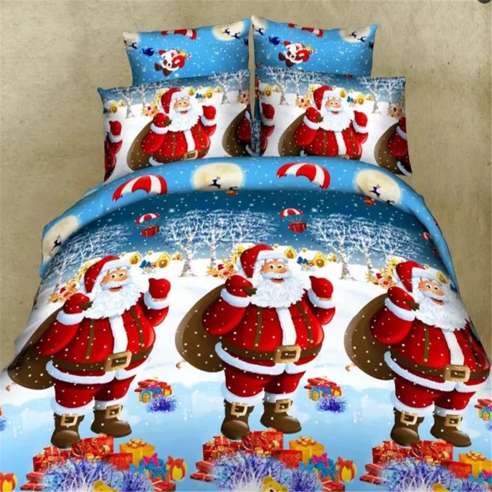 Blue Color Christmas Design Kids Duvet Cover 4PC ,Queen Full Size Happy Santa Claus Gift Child Bedding SetsFor X-masBlue Color Christmas Design Kids Duvet Cover 4PC ,Queen Full Size Happy Santa Claus Gift Child Bedding SetsFor X-mas