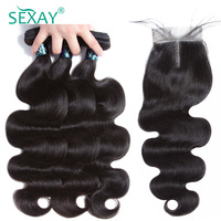 Brazilian Body Wave With Closure 100 Human Hair Weave 3 Bundles With Closure Sexay Non Remy