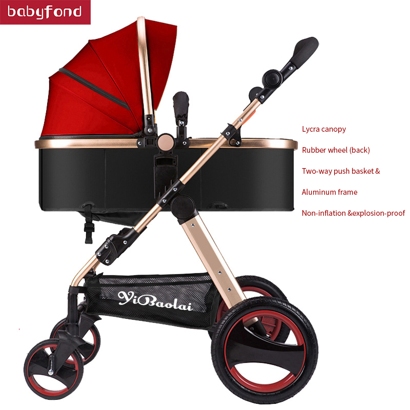 Two-way implementation of high landscape strollers can sit reclining folding lightweight four-wheel shock absorber baby stroller
