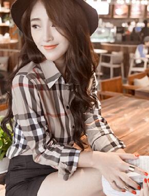 2015 outono camisa xadrez fino feminino da longo-luva plus size top básico roupas baratas china mulheres Moda vestido sexy descontos