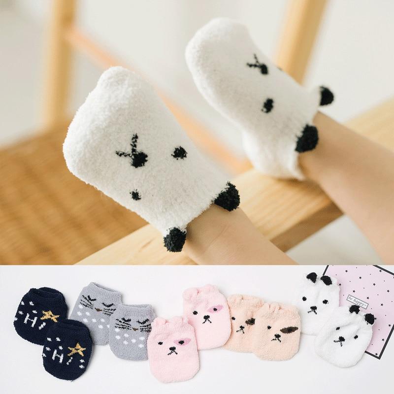 0-2 Years Autumn Winter Children Socks Thickened Coral Velvet Baby Floor Socks Cartoon Anti-Slip Newborn Socks Dispensing Socks