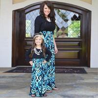 2017 Thời Trang Mẹ và Tôi Cô Gái Trang Phục Mùa Thu Váy Gia Đình Phù Hợp Với Quần Áo Chất Lượng Cao Cotton Dress sẵn sàng
