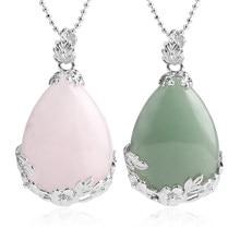 Csja jóias compras online mulher natural rosa quartzo pedra colar & pingente lágrima gota de água amor reiki grânulo ketting e082