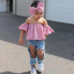 Летний комплект из 3 предметов для маленьких девочек, милый розовый топ + джинсы + повязка на голову в европейском стиле, комплект одежды для ...