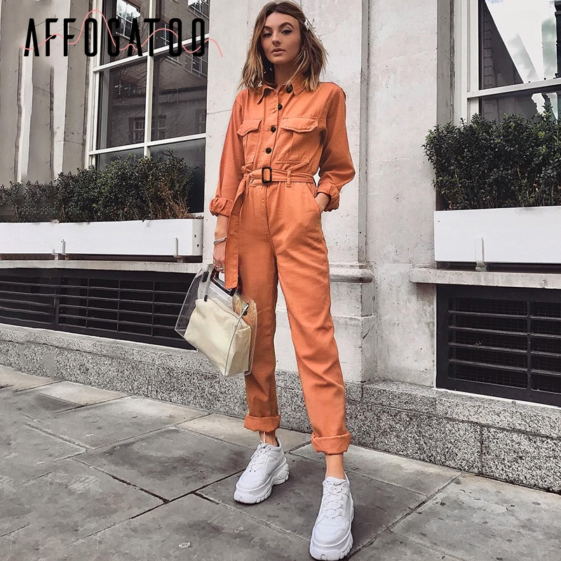 Affogatoo Casual Cargo Cotton Orange Jumpsuit Women Sash Pocket Sport Romper Ladies Chic Autumn Winter Female Jumpsuits Overalls