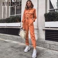Affogatoo Casual cargo cotton Orange jumpsuit women Sash pocket sport romper ladies Chic autumn winter female jumpsuits overalls