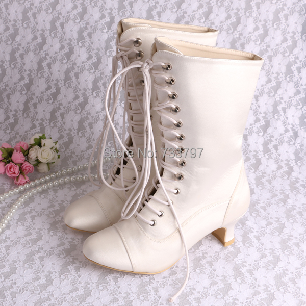 Wedopus Ivory White Spike Low Heel Lace Up Satin Wedding Bridal Women's Winter Long Boots акустика центрального канала heco elementa center 30 white satin