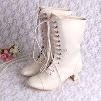Free Shipping Fashion Ivory White Round Toe Spike Heel Lace Up Satin Wedding Bridal Women S