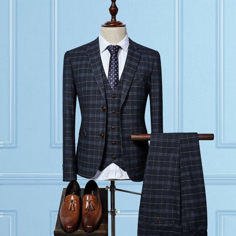 Blue Black men's groom wedding dress Plaid Suit Men Slim ...