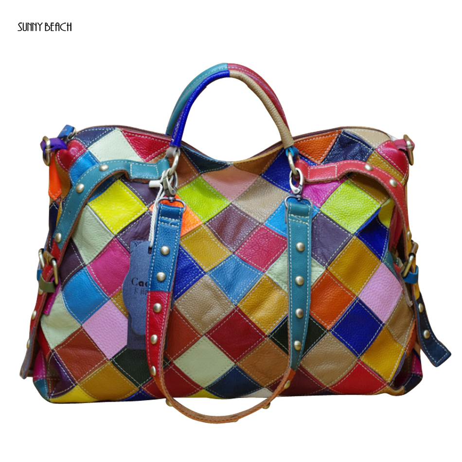 SUNNY BEACH fashion Genuine Leather women handbag single shoulder bag Colorful color Patchwork women bag yuanyu 2018 new hot free shipping real python skin snake skin color women handbag elegant color serpentine fashion leather bag