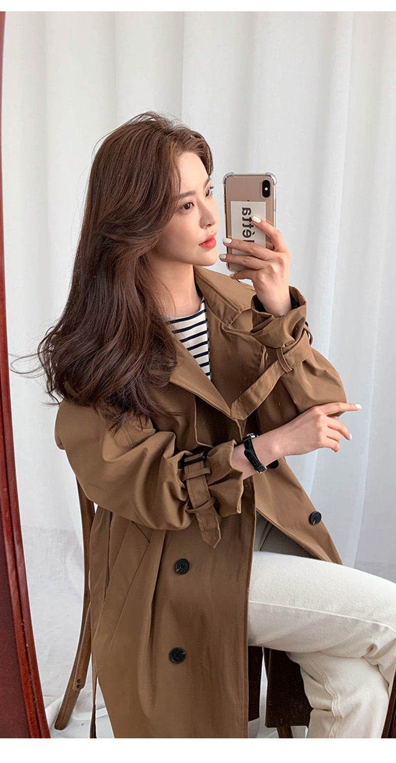 19 New Autumn Winter Women's Coat Korean Windbreaker Female Plus Size Double Breasted Ladies Long Chic Trench Coats 4