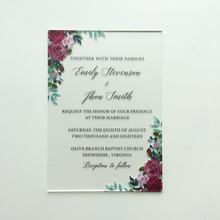 Beautiful Burgundy Floral Watercolor Style 5x7inch Frosted Acrylic Wedding Invitation Card 100 Pieces Per Lot