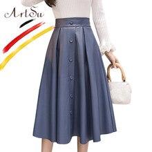 ArtSu Vintage plisado falda mujeres invierno caqui alta cintura A-Line Falda  Midi Faldas Mujer Moda 2018 2XL azul falda de cuero. 7b54005b3be6