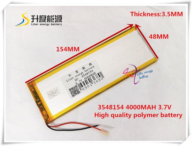 3.7 V 4000 mAH 3548154 (íon de lítio polímero bateria/Li-ion) para tablet pc banco de Potência E-BOOK MP3 MP4