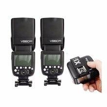 Godox V860II-C E-TTL HSS Wireless Flash Speedlite 2pcs set + E-TTL X1T-C 2.4G Wireless Studio Flash Trigger For Canon