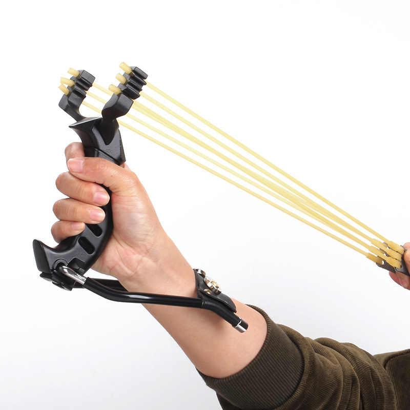 Fionda da polso pieghevole professionale da caccia in acciaio ad alta resistenza con fionda tradizionale a due elastici