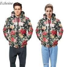 Echoine Floral Print Winter Outdoor Sports Fleece Hoodies 2018 New Men Women Long Sleeve Pockets Zipper Excercise Sweaters Coat
