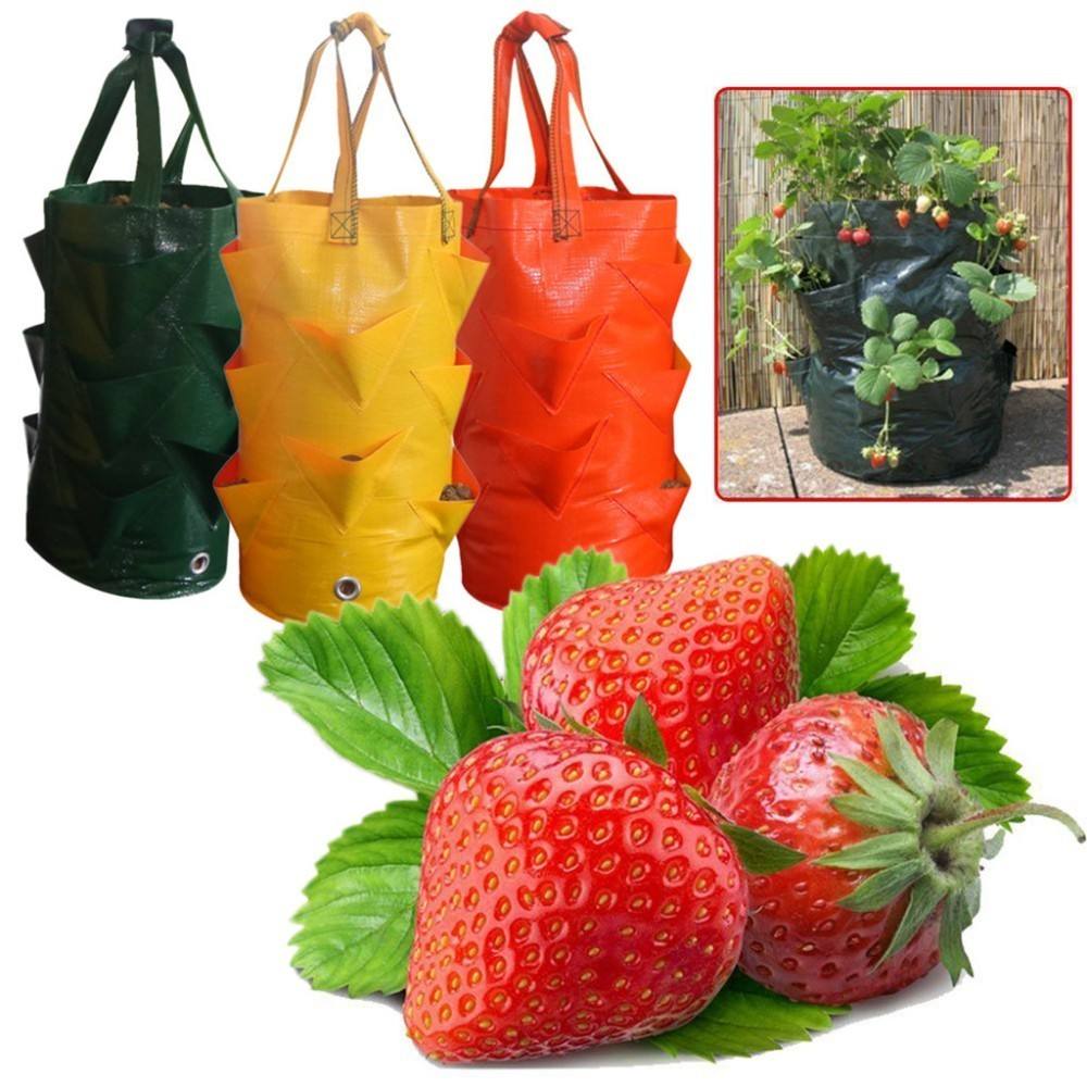 Garden Outdoor Planting Grow Bag Strawberry Vertical Flower Herb Pouch Root Breathable Vegetable Round Reusable Pot Planter Bag