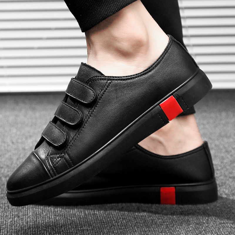 Leather Casual Shoes Men Classic Paste Lace Up Flats Male Black Comfortable Fashion Walking Sneakers Men Breathable Flats Shoes