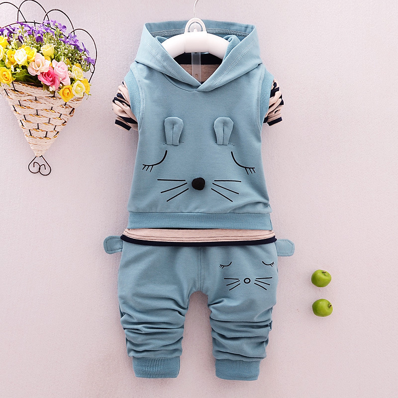 2018 New Baby Spring Autumn Sports Suit Cartoons Hooded Vest T Shirt Pants 3 Pieces Set Tracksuits Kids Clothing Casual Clothes new 2018 spring fashion baby boy clothes gentleman suit short sleeve stitching plaid vest and tie t shirt pants clothing set