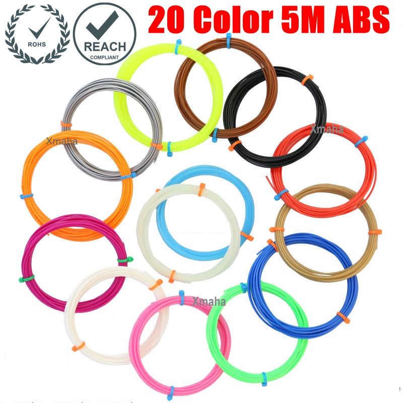 Prix pour Imprimante 3D ABS filament 20 Couleur 5 M ABS filaments matériel Paquet Une Boîte 3d stylo 3d filament abs 1.75mm Freeshipping