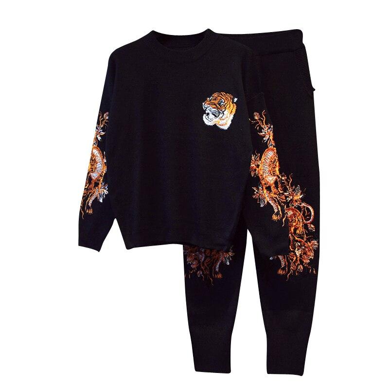 Tricoté Mode Broderie Tops Longues Pantalon C991 Noir Chandail Tigre Ensemble Manches Pièce Costumes De 2018 Femmes 2 Automne Modes Nouveaux twqqz78