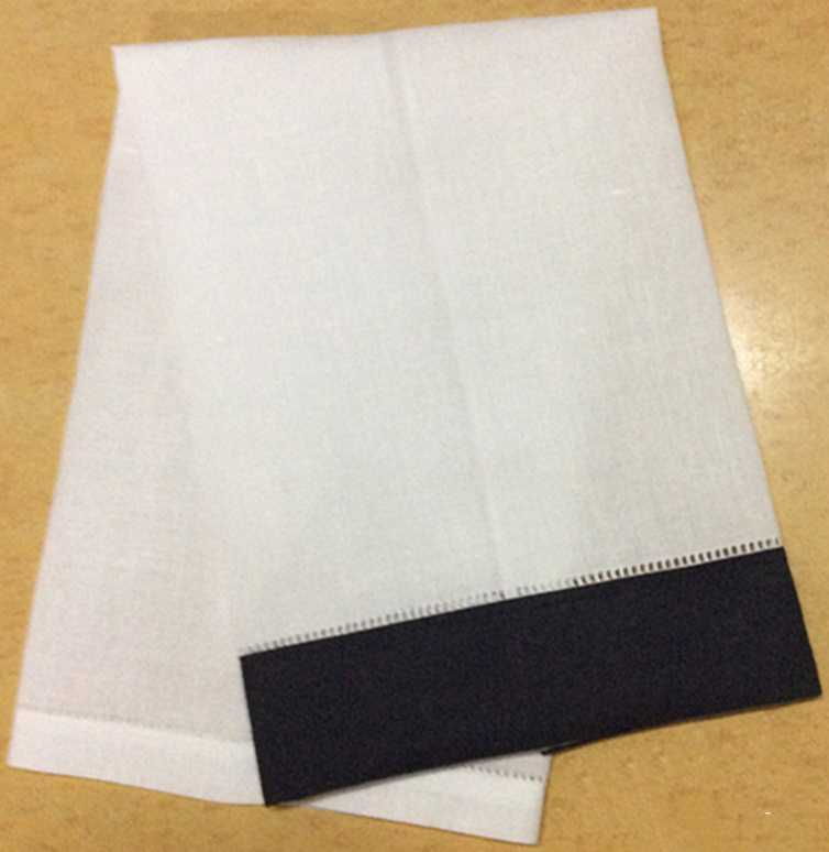 Set Of 12 White Linen Hemstitched Tea Towel -14x22