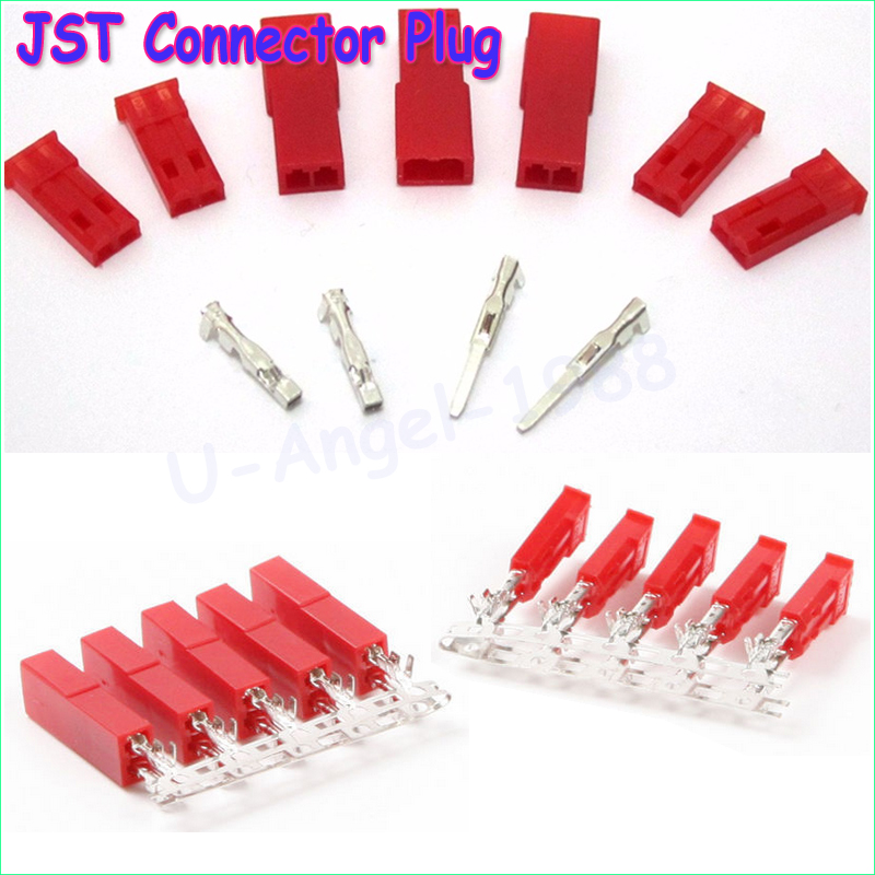 50set/lot JST Connector Plug 2-Pin Female, Male and Crimps rc battery connector 10pcs lot usb 2 0 4pin a type male plug