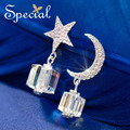 Special New Fashion Crystal Stud Earrings Star and Moon Rhinestones Jewelry Ear-piercing Gifts for Women S1607E