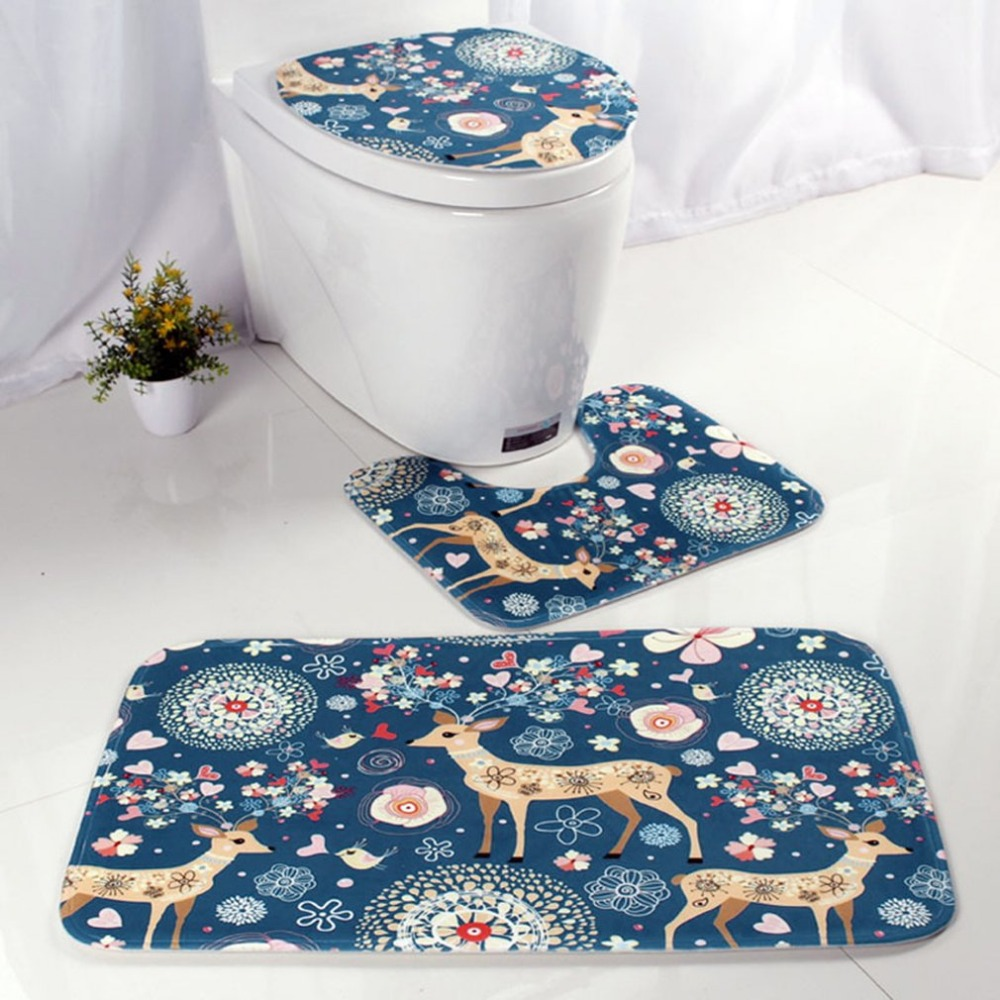 Deer bathroom accessories - 3 Pcs Set Flower Deer Pattern Flannel Printing Water Absorption Anti Skid Non Fading