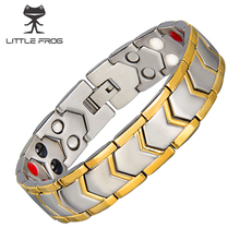 LITTLE FROG 316L Stainless Steel Healthy Magnet Bracelets Energy Germanium Magnetic therapy Bracelets Bangles For Men 10202 stainless steel hologram bracelet germanium balance energy care magnetic power health bracelets bangles