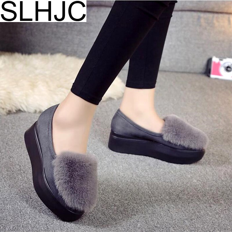 SLHJC Autumn Platform Shoes Flat Heel Women Fur Flats Slip On Elevator Shoes New Arrival Fall Fashion Flat 2017 fashion winter flat fur shoes women rabbit fur tide lazy shoes slip on casual plus velvet loafer shoes autumn new arrival