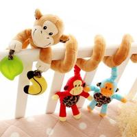 Musical Baby Toys Stroller Bed Cot Crib Hanging Infant Baby Educational Cartoon Monkey Pattern Rattles Toys